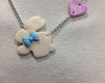 Sweet Bunny and Heart Necklace