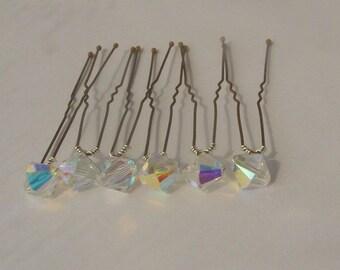 Crystal AB Bridal Hair Pins, Wedding Hair Pins, Crystal Hair Pins, Crystal Bobby Pins, Swarovski Hair Pins, Veil Hair Pins - Set of 6 8mm
