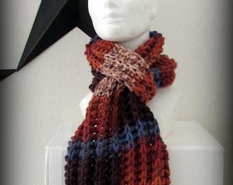 Scarf - knit scarf - hand knit scarf - ruffle scarf - acrylic scarf - fall scarf - fall knit scarf - fall colors knit scarf - rust scarf