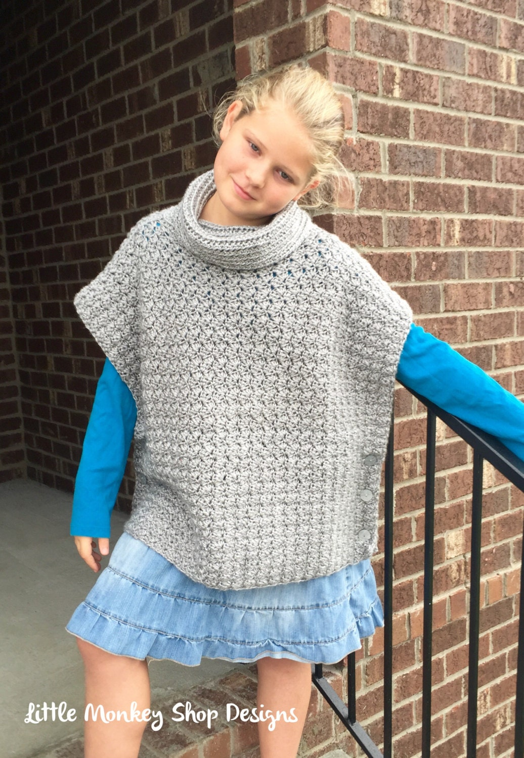 Crochet Poncho PATTERN - Cowl - Poncho Pattern - Sizes (2, 3/4, 6/8 ...
