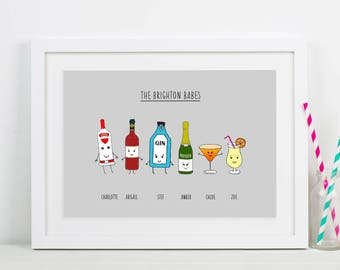 Personalised Friends Print, Friend Gift, Friends Drinks, Friend Portrait, Personalised Friendship Print, Best Friend Gift, Personalised Gift