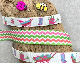 Gardening Ribbon - Pretty Pink Gardening Trim - Ribbon for Gardeners - Horticulture Gifts Wrap - Green Pink White Chevron - Zig Zag Ribbon