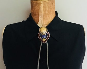 Hintage Abstract Asian Inspired Bolo with Gray Tie