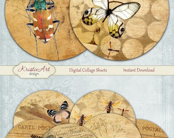 75% OFF SALE Bugs and Butterflies - Digital Collage Sheet - Digital cards C201 printable download tags digital round Insects atc card