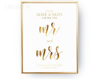 Please leave a note for the new Mr. and Mrs. - Wedding Sign  - Elegant Reception Decor - Wedding Gold Foil Sign - Wedding Decor Inspiration