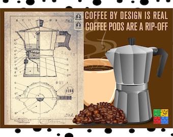 2 handmade fridge magnets with the original Italian Espresso Coffee moka pot patent. Great birthday/wedding/office #gift.