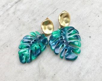Tropical Earrings,Monstera Earrings Gold,Big Leaf Earrings,Leaf earrings Stud,Resin Earrings,Stud Earrings,Gold Stud Earrings,Tiki Style