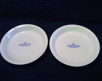 2 Corningware Cornflower Blue 9 Inch Pie Plates  Vintage 1970s  Pie Dish