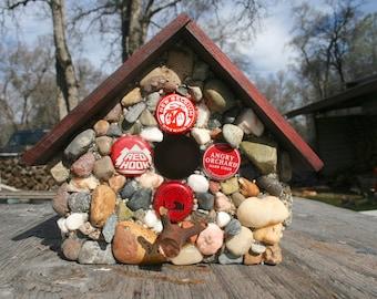 Outdoor Stone Birdhouse~Bottle Cap Art~ Beer Lovers Gift~ Garden Decorations, Functional Birdhouse