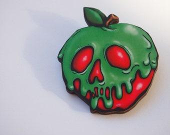 Poison Apple Snow White Laser Cut Wood Brooch
