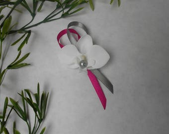 Boutonniere, brooch for wedding - white grey and fuchsia - white Orchid