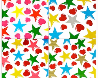 Oilcloth by the Yard - Hearts and Stars