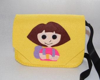 Children bag, Bag Dora, little bag, bag of felt, gift for princesses, handbag, kids crossbody bag, girl bag, Dora the Explorer, felt purse