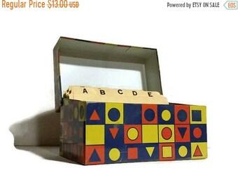 1960s recipe box geometric metal recipe holder kitchen decor retro recipe box