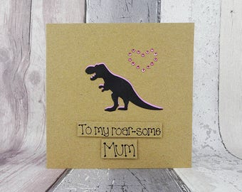 Funny T-Rex Dinosaur card for Mum, Mom or Step-Mum, Handmade dinosaur birthday card, Funny Mother's Day card, Recycled Kraft card
