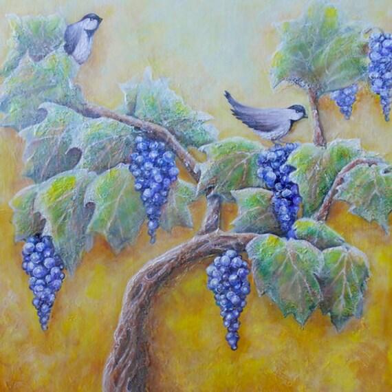 Vögel auf Weinrebe Kunst Meise rustikale Vogel Kunstwerk