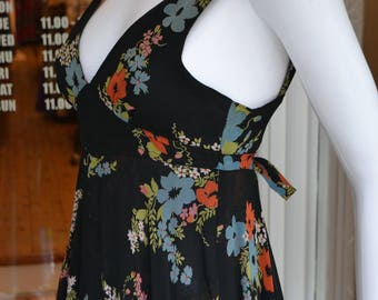 Vintage 1970's 70's RARE Ossie Clark Celia Birtwell Print Floral Chiffon Tiered Midi Dress for Radley XS S Black Flower