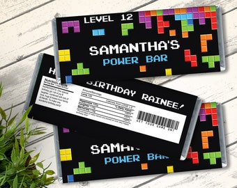 Tetris Game Candy Bar Label/Wrapper - Video Game Party Favor, Gamer Birthday, Retro Gamer | D.I.Y. Editable Text INSTANT DOWNLOAD Printable
