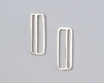 Minimalist Silver Earrings, Simple Geometric Design Rectangle with Stripes, Great for Modern Bridesmaids and Capsule Wardrobe Gift for Women