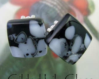 Granite State Clip-On Earrings, Fused Glass Jewelry from North Carolina