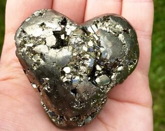 AAA Grade Natural Pyrite Puffy  Heart