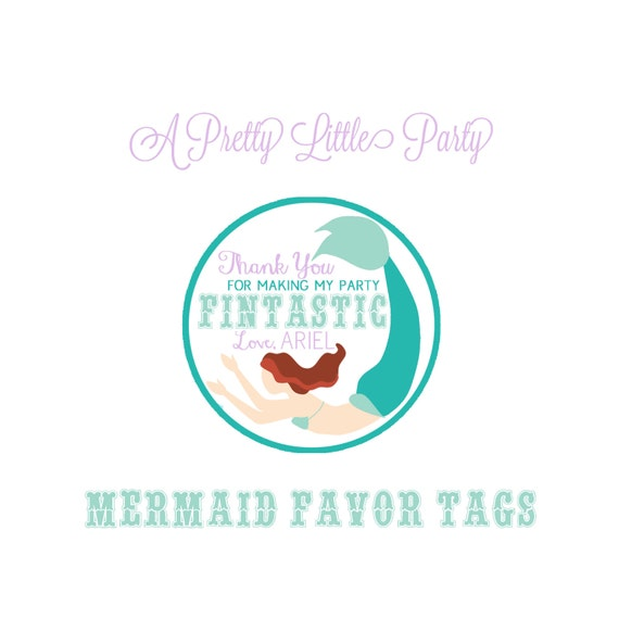 Custom MERMAID Favor Tags in purple - MERMAID Party - Under the sea -Party Supplies