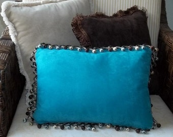 Turquoise suede leather pillow