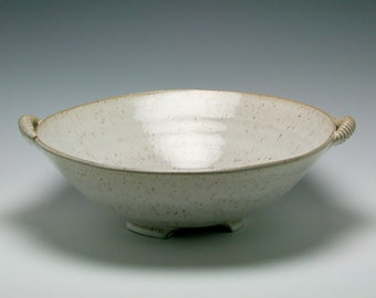 Extra Large Rustic Ceramic Serving Bowl in shades of Creamy White and Brown With Sweet Handles/Ceramics and Pottery