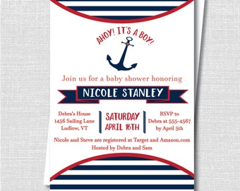 Navy Blue and Red Nautical Baby Shower Invite - Boy Baby Shower - Anchor Theme - Digital Design or Printed Invitations - FREE SHIPPING