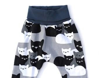 12-18m Grey Cat Print Leggings, Organic Baby Clothes, Baby Harem Pants, Baby Harems, Grey Baby Leggings, Toddler Harems, Toddler Leggings