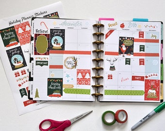 Christmas Planner Stickers | December Planner Stickers | Santa Stickers | Green Red Stickers | Deer Stickers