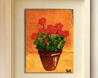 Red geranium ACEO floral Red flowers Art collector cards Miniature art Original painting Flowers cards Original ACEO Flower ACEO Collectible