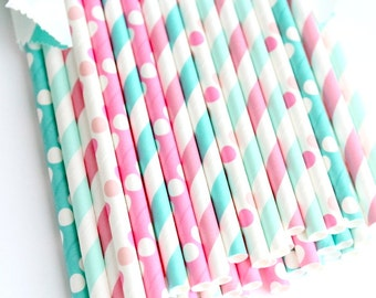 Gender reveal straws-set of 25, gender reveal party, pink, blue and straws, baby showers, weddings, cotton candy straws