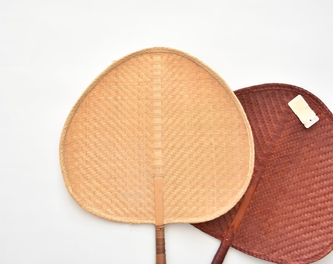 delicate woven rattan fan / wall basket
