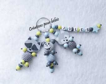"""Keychain """"Raccoon - raccoon / mouse / Fox"""" with wooden beads with the name of your choice"""