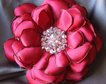 Red Satin Flower with Crystal Beaded Center