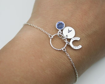Birthstone, Initial and Horse shoe Bracelet in Sterling Silver - Adjustable Personalized Birthstone Bracelet