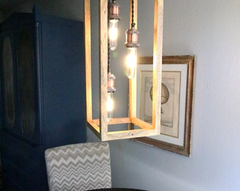 wood cube 3 light pendant FREE SHIPPING wood pendant island light kitchen light pendant light