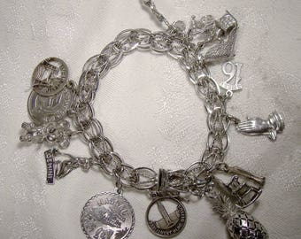 Double Link with Twist Sterling Silver Charm Bracelet with 15 Charms 1970s