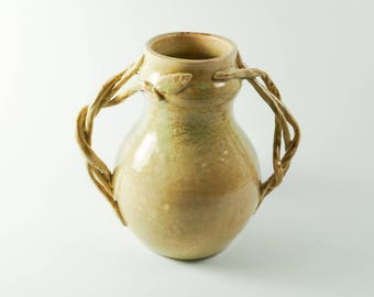 Pottery vase - flower vase - ceramic art vase -  light green vase - rustic vase  V10