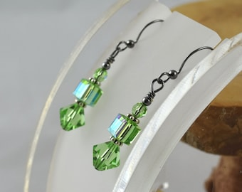 PERIDOT Simply Stacked Swarovski crystal bicone cube and round gunmetal leverback earrings