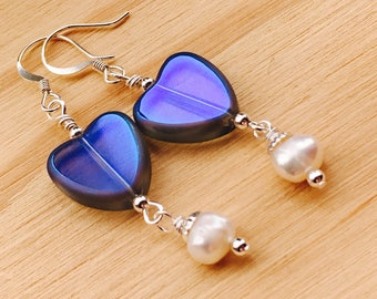 Purple heart and freshwater pearl dangle earrings, handmade heart earrings, heart jewelry