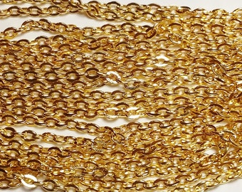 10M Gold Plated Chain 3x2.5mm - Bulk Wholesale Jewelry Supplies - B05599