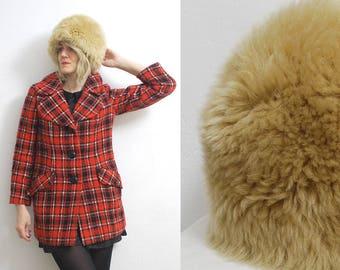 70s Tuscan lamb fur hat. shearling hat. fuzzy winter hat