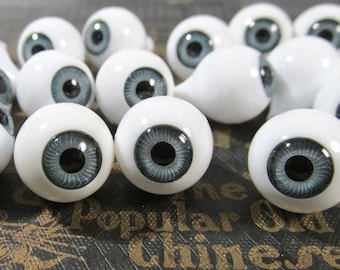 14mm Gray Doll Eyes VINTAGE Plastic EYES Crystal Cut Rimmed Vintage Doll Parts Jewelry Mosaic Altered Art Doll Making Supplies (N120)