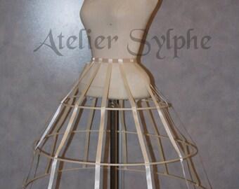 Ivory color triangular Crinoline hoop cage skirt pannier 3 rows elastic waist simple cage