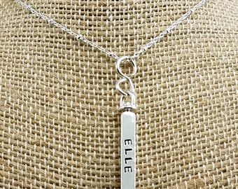 4-Sided Swivel Necklace; Sterling Silver; Hand-Stamped; Personalize; Custom Charm Necklace