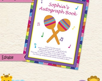 Music Party • Autograph Book • Guest Book • Book Sign • Maracas • First Birthday • 1st Birthday • Baby Girl • Music • Notes • 034mg2