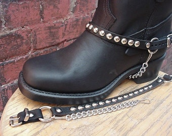 Biker Boots BOOT CHAINS Black Leather with Round Studs