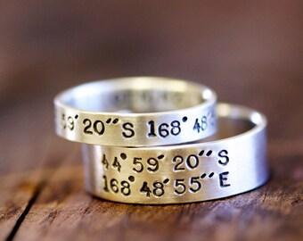 Wedding Ring Set Latitude and Longitude Rings (E0278)